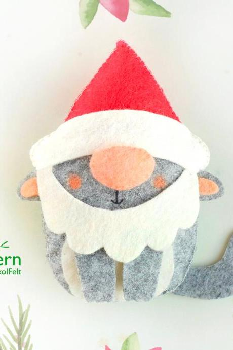 Felt Santa cat toy sewing PDF pattern, Christmas gnome felt ornament, Christmas tree cat ornament, baby crib mobile toy