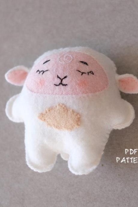 Felt sheep toy sewing PDF pattern, felt sheep ornament, baby crib mobile toy, sheep digital tutorial