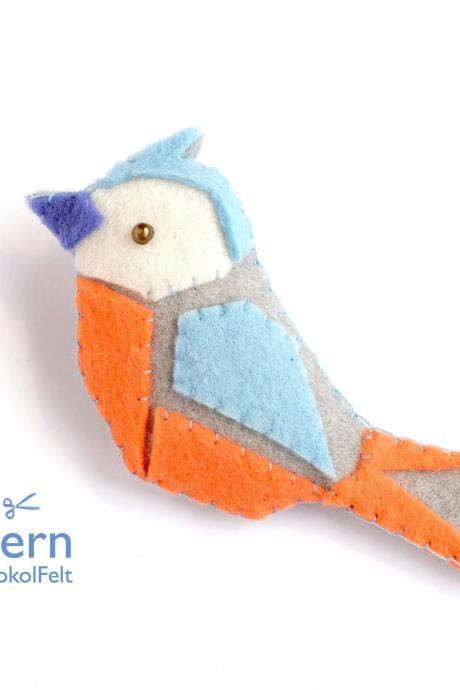 Felt bird toy sewing PDF pattern, Felt bird brooch, Origami bird ornament, DIY easy hand sewing bird tutorial, Lovebird, Bluebird, Bullfinch