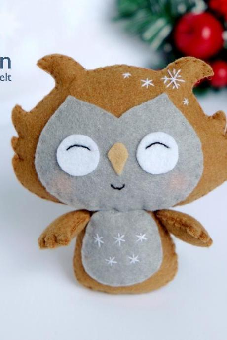 Felt owl toy sewing PDF pattern, Felt bird ornament, Felt woodland animal pattern, Felt Christmas ornament pattern, DIY owl tutorial