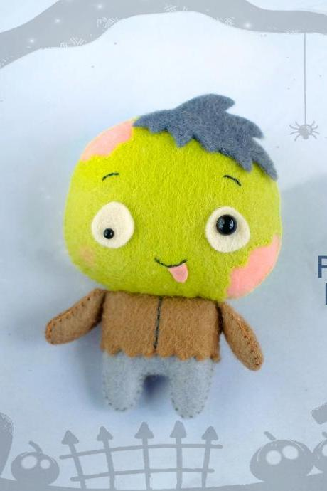Cute Zombie toy sewing PDF pattern, Felt Halloween ornament, Easy to make Halloween toy