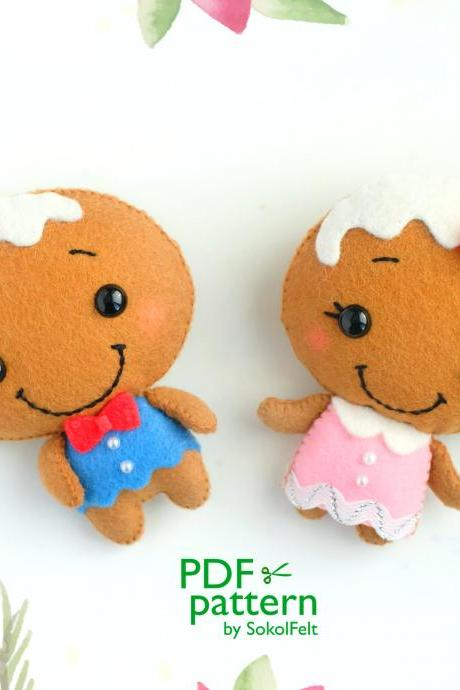 Felt Mr. and Mrs. Gingerbread toy PDF patterns, Christmas Gingerbread man sewing digital tutorial, Christmas tree toy, baby crib mobile toy