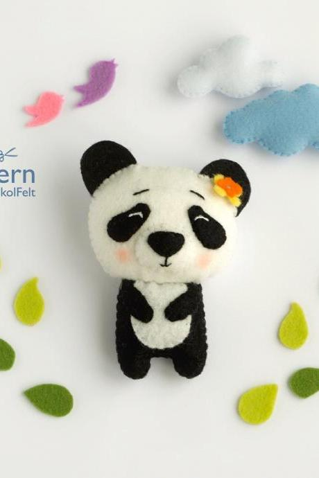 felt Panda toy sewing PDF pattern, Felt woodland animal pattern, baby crib mobile toy, felt diy panda ornament
