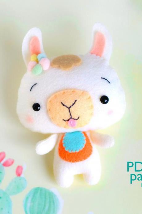 Felt llama toy sewing PDF and SVG pattern, Alpaca digital tutorial, Baby crib mobile toy, Farm animal pattern.