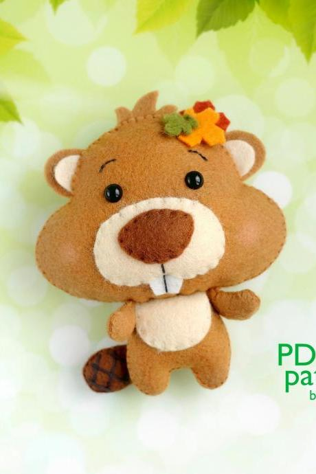 Beaver PDF pattern, Felt woodland animal plush toy sewing tutorial, Baby crib mobile toy, Beaver ornament.