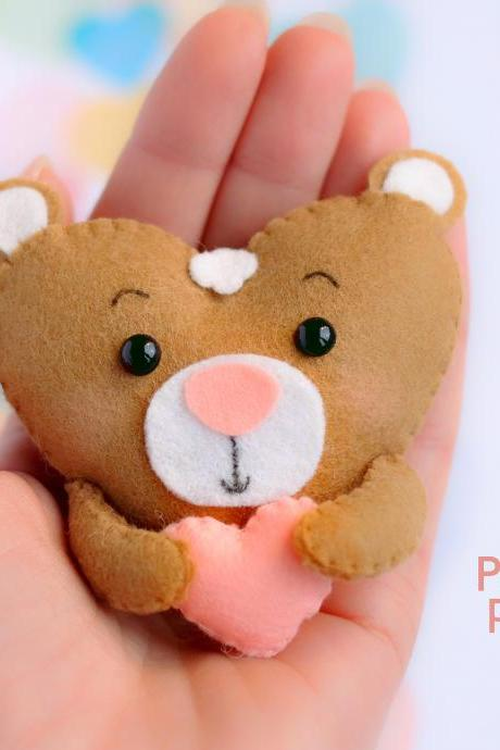 Felt teddy bear toy sewing PDF pattern, Heart shaped animal ornament, St. Valentines pattern, baby bear sewing digital tutorial.