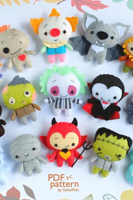 Set of 15 Felt Halloween toy sewing PDF and SVG Patterns, Easy to make ornaments, Vampire, Devil, Beetlejuice, Ghost, Zombie, Scarecrow.