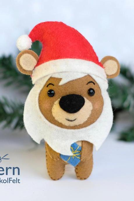 Felt Christmas bear toy sewing PDF pattern, Christmas woodland animal, Felt bear ornament, Felt Santa ornament, Christmas tree toy.