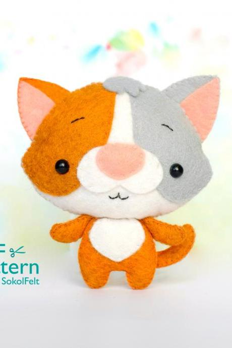 Felt Calico cat toy sewing PDF pattern, Tricolor kitty softie DIY tutorial, Felt pet pattern, Baby crib mobile toy.