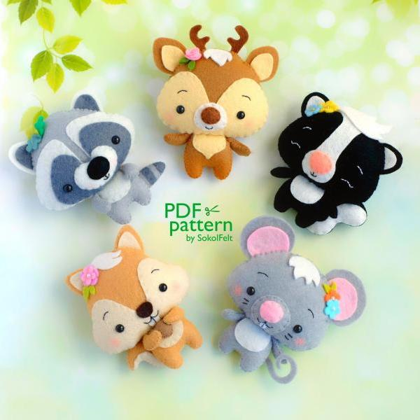Set of 5 felt woodland animal PDF patterns, Deer, Skunk, Mouse, Squirrel, Raccoon plush toy sewing tutorials.