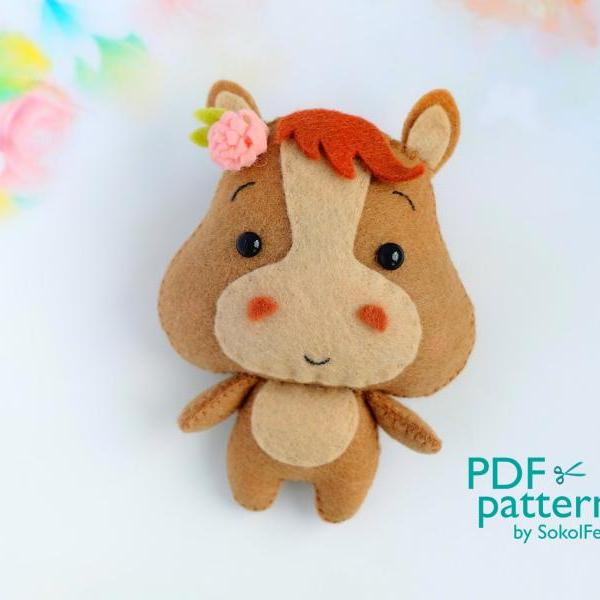 Felt baby horse toy sewing PDF pattern, Cute farm animal, Felt foal digital instant download tutorial, Baby crib mobile toy.